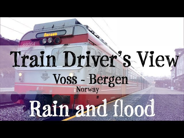 Train Driver's View: Local Service run with rain and floods