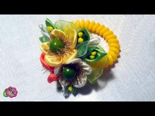 Браслет Солнечные Лучики. Канзаши МК/Bracelet Sunbeams. DIY Kanzashi