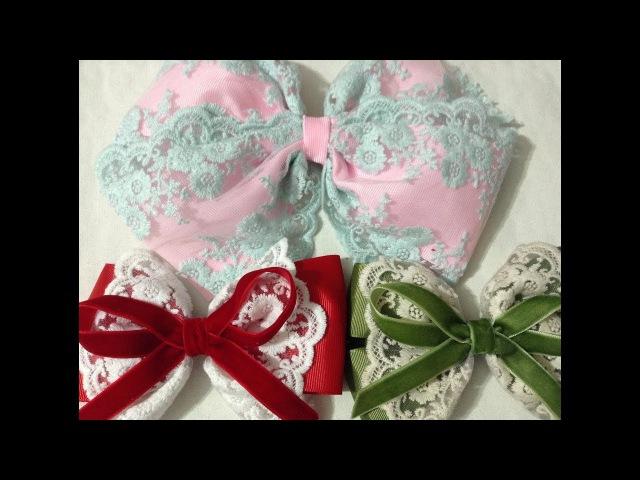 3 estilos de Lazos con tela bordada y liston VIDEO No 533 creaciones rosa isela