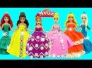 Куклы Принцессы Диснея Шикарные Платья из Пластилина Плей До. Поделки из Play Doh с...