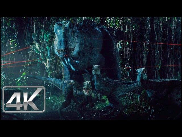 Indominus Rex Raptors Vs Soldados - LATINO (4K-HD) | Jurassic World (2015) |