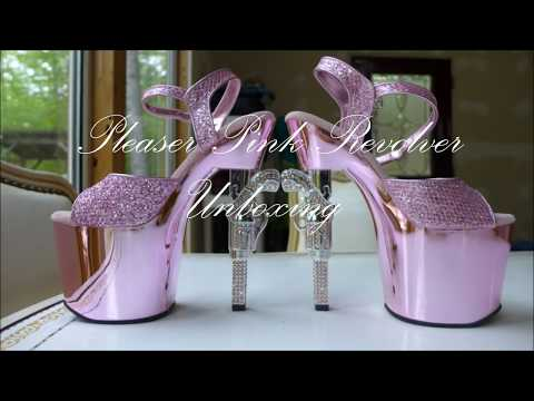 Pleaser Pink Revolver Shoes Unboxing Fitting
