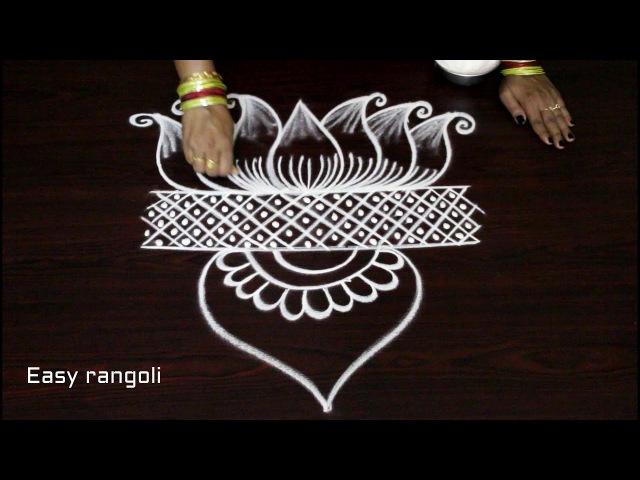 Freehand lotus kolam designs * easy rangoli designs * simple muggulu with out dots *latest rangavali
