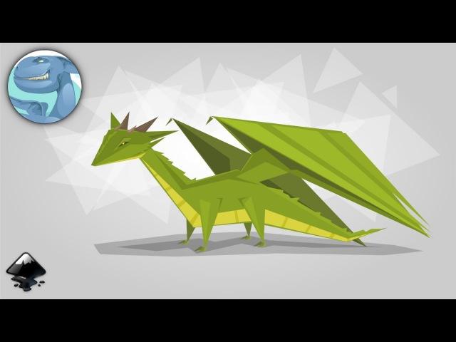 Simple green Dragon. Speed art in Inkscape.