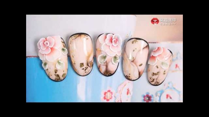 【Watch nail Teach Me-835th phase】Fresh Creative Solid Carving Flowers【窝趣美甲你求窝教 第835期】清新文艺立体雕花。