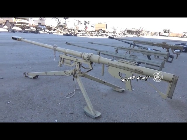 Large quantities of weapons seized by the Syrian army between the cities of Mayadeen and Bu ...