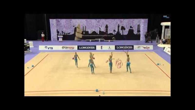 Сборная России в групповых упражнениях ленты-мячи чм 2014 многоборье