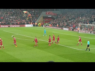 Celebrations after Sadio Mane's goal vs Newcastle at Anfield 03/03/2018