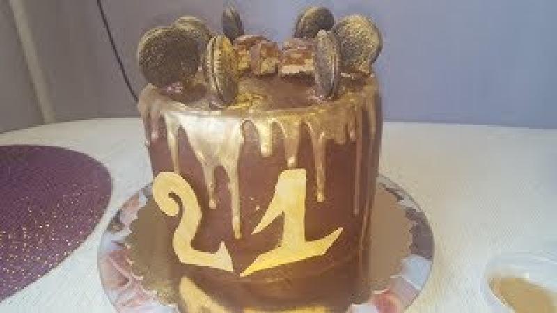 Мужской торт. Оформление ганашем и золотым кандурином. Молочная девочка.