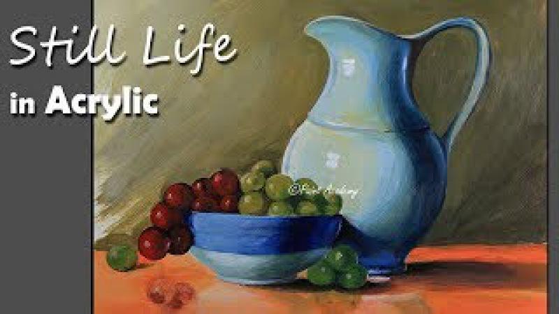 Realistic Still Life in Acrylic Jug Dish Fruits painting step by step смотреть онлайн без регистрации