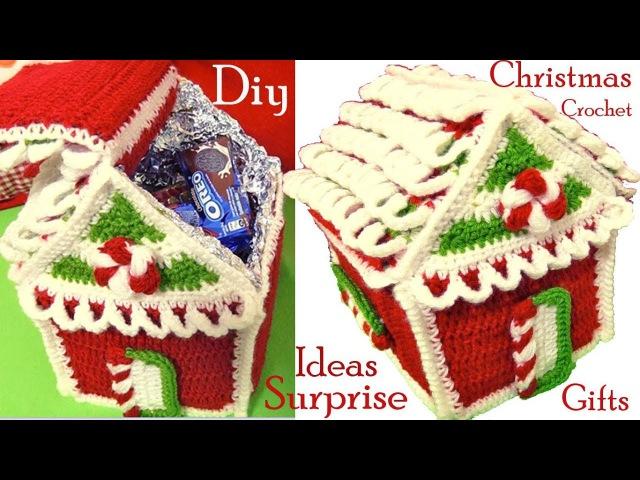 Como hacer casita de Navidad a Crochet regalos sorpresas ideas tejido tallermanualperu