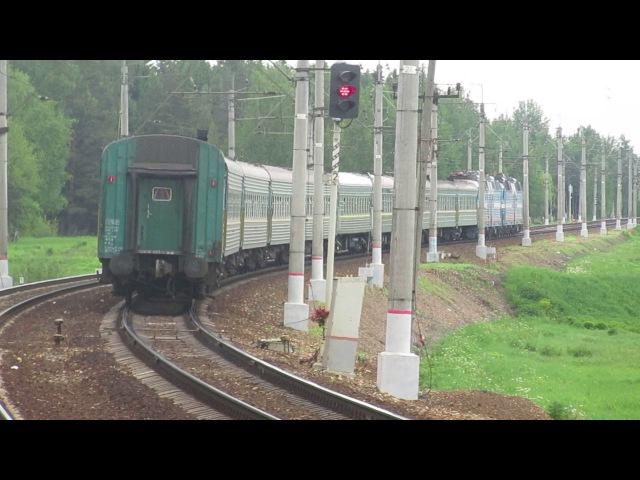 Электровозы ЧС7 067 ЧС7 041 с поездом№048Щ Кишинёв Москва платформа Победа 8 06 2017