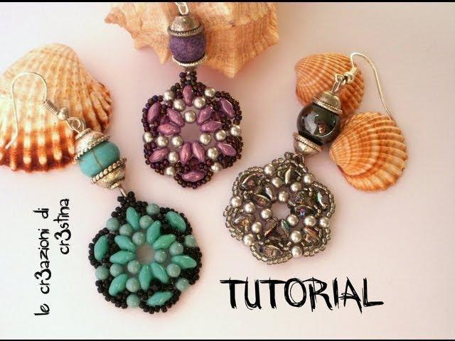 Tutorial Orecchini TANTI AUGURI Superduo/Twin beads, Perle, Bicono Swarovski 3 mm, Rocailles (2/2)
