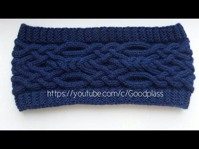 Вязание шарфа снуда спицами. Вязаный снуд с косой. Knitting(Hobby)