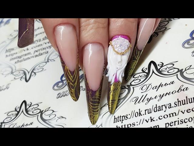Копия видео 3d gel Лепка Гелем пластилин Длинные ногти Современный миндаль