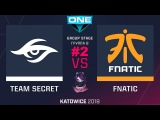 Secret vs Fnatic RU #2 (bo3) ESL One Katowice 2018 Major Group B 22.02.2018