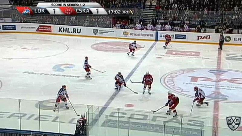 Моменты из матчей КХЛ сезона 17/18 • Гол. 2:1. Красковский Павел (Локомотив) забрасывает шайбу в ворота соперника 14.03