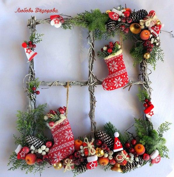 Альтернатива традиционному новогоднему венку - новогоднее панно