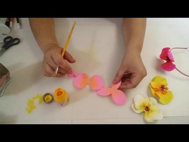 Aplique de flor de orquídea em EVA sem frisador by Tatiana Karina PAP/DIY/TUTORIAL