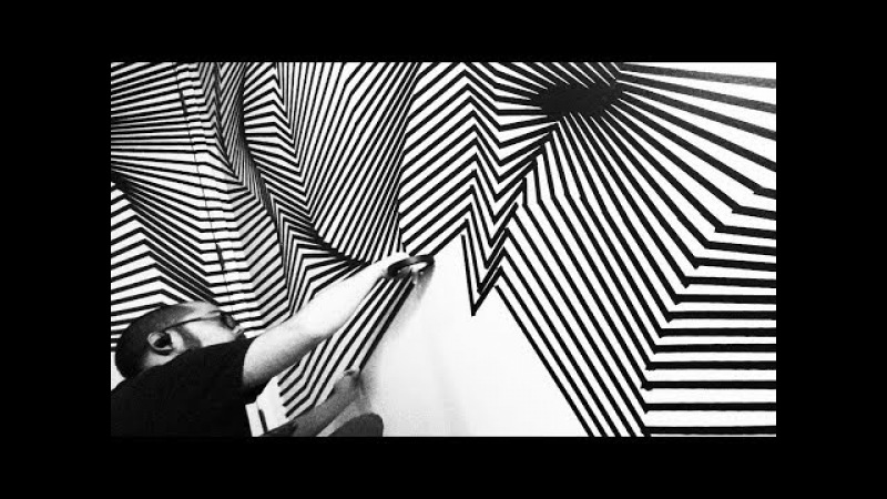 Tape Art Installation by Darel Carey - Dimensionalizing the Foyer: Topographical Space