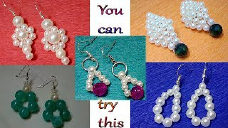 94 Easy way to make 5 different type pearls earrings    Diy    Jewellery Making