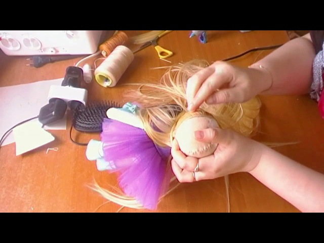 крепление волос кукле