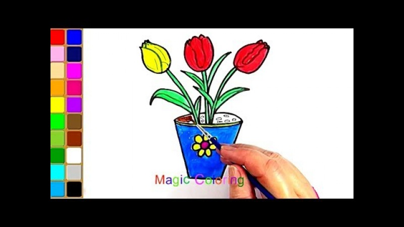 How to Draw a Tulips in a Pot Easy for Kids