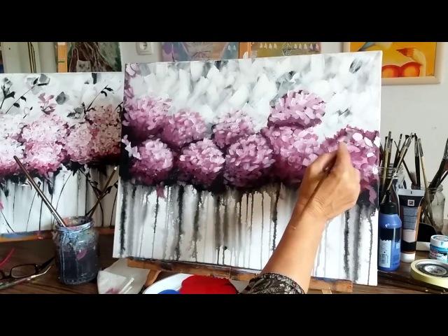 Hogyan festhetünk akrillal absztrakt Hortenziákat Magyar
