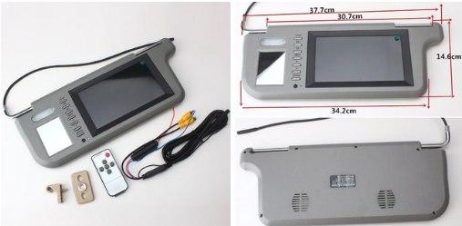 Солнцезащитный козырек с монитором подойдт для подключения камеры заднего вида 4 цвета на выбор