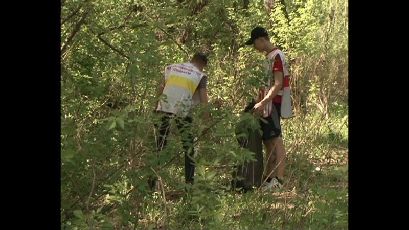 Берег реки Тускарь расчищали от мусора