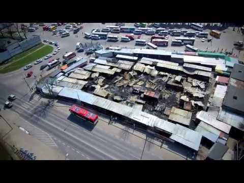 Pożar targu przy ul. Ruskiej w Lublinie [WIDEO Z DRONA]