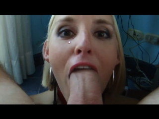 Amazing deepthroat facefuck blowjob and swallow by submissive wife