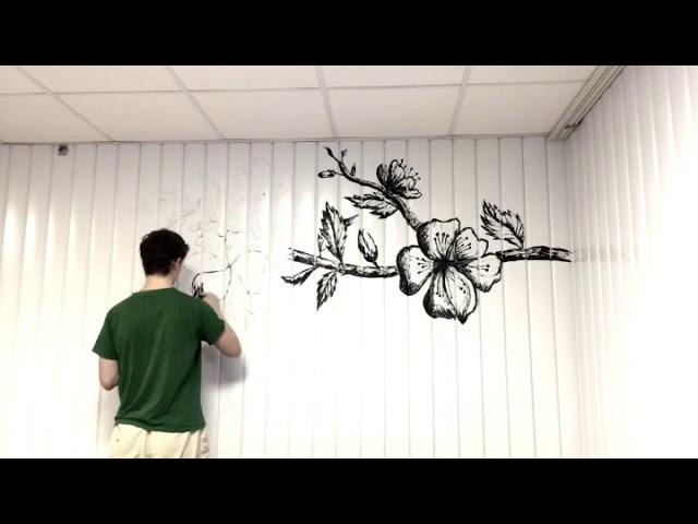 Wall Drawing Process Timelapse. Роспись стены.