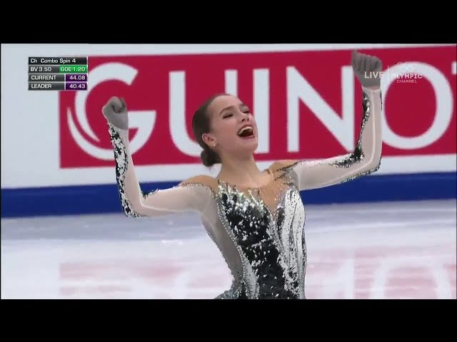 (NBC Sports HD). ALINA ZAGITOVA АЛИНА ЗАГИТОВА 2018 SP - EUROPEAN CHAMPIONSHIPS,, 1st Place