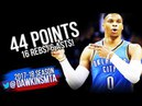 Russell Westbrook 44 Pts, 16 Reb, 6 Ast 2018.4.3 OKC Thunder vs Warriors  - Not ENOUGH! FreeDawkins