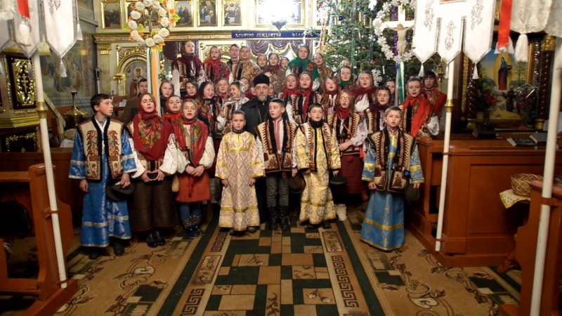 Коляда учнів Недільної школи в храмі Різдва Пресвятої Богородиці в Богдані 2018р