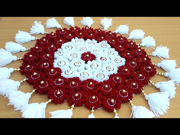 DIY - AWESOME TABLE MATE FROM WOOLEN    HOW TO MAKE THALPOS MAT FROM WOOLEN FLOWERS