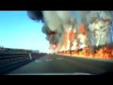 Стена огня на трассе в Китае