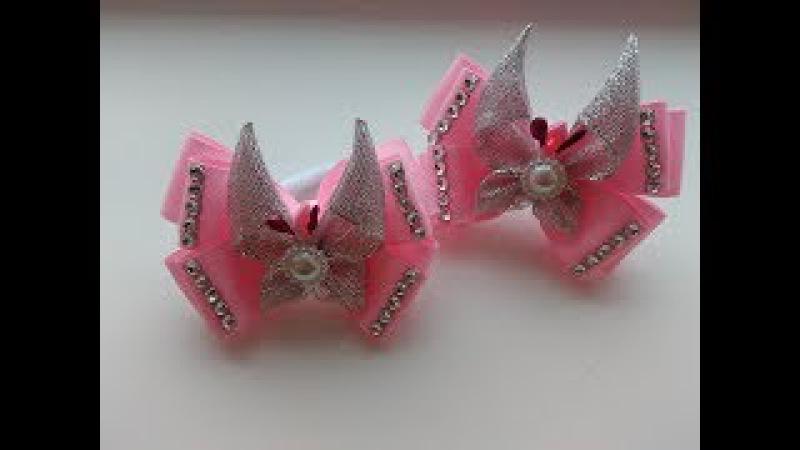 Нежные бантики с бабочками из лент Канзаши МК / Delicate ribbon with butterfly ribbon Kanzashi MK