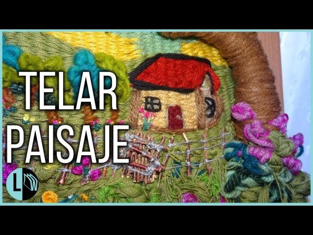 TELAR DECORATIVO PAISAJE Casita Rural Paso a Paso Tapiz Mural Weaving loom Lana Wolle