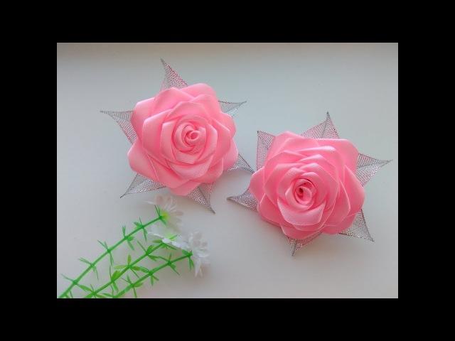Бантики Розы из атласных лент МК Канзаши / Bows Rose satin ribbons, Kanzashi MK