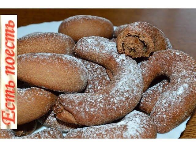 Шоколадно-банановое постное печенье с ореховой начинкой