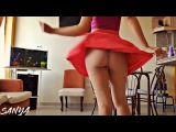 No Panties Skin Color Pantyhose and a Red Skater Skirt