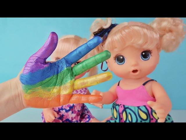 Куклы Пупсики Поем Малышам Песенка Пальчики Красим красками Ручку Finger Family Зыри