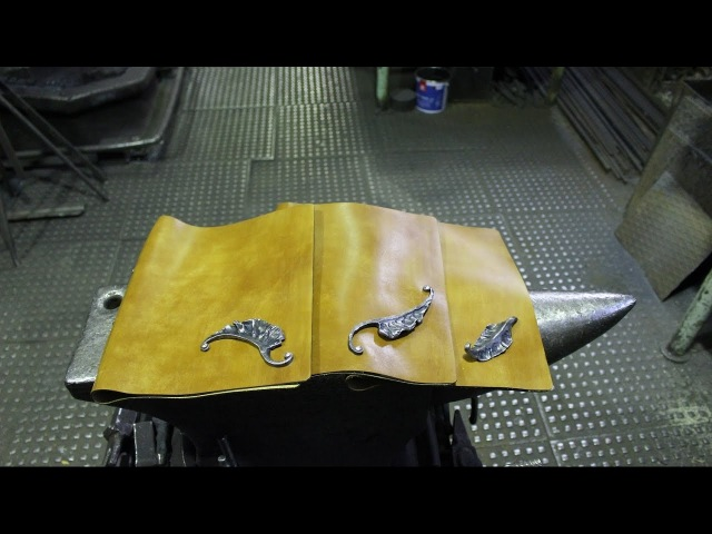 Клепаем кованый листик на кожаную папку.SHABALIN DESIGN