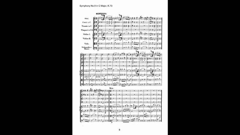 Mozart Symphony No 9 Sheet Music Score Hogwood AAM 樂譜版本影片