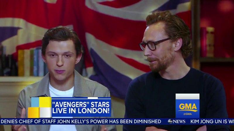 Benedict Cumberbatch, Tom Holland and Tom Hiddleston got interviewed in Infinity War press junket