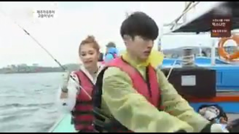 Hanbin was holding on to the fish but it was very slippery so it fell a lot and went straight to the bucket of baits
