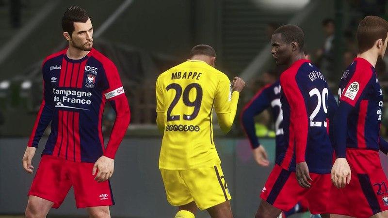 Caen vs PSG / Full Match Goals 2018 / PES 2018 Gameplay PC