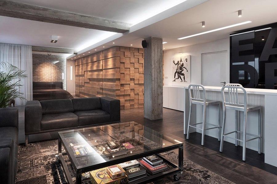 Стилизованный лофт 95 м из двух квартир в Сербии.